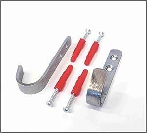 Komplett-Set 2 Stück Wandhaken Haken Kleiderhaken Garderobenhaken Metallhaken verzinkt 90x35x26 mm mit Schrauben und Dübel
