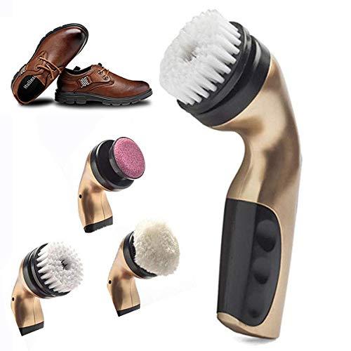 LDJDXCKX Spazzola Elettrica per Scarpe con 5 Spazzola Alimentato dalla Batteria CA o AA Spazzola per Lucidatura di Scarpe Portatile Palmare Lucidatore per Borse in P