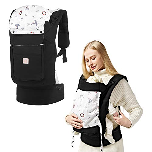 GAGAKU Ergonomische Baumwoll Babytrage Rücken mit Abnehmbarer Kapuze 5-48 Monate (5,5-15 kg) - Schwarz