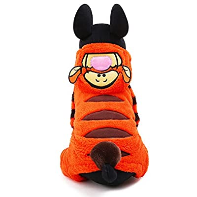 HSL Cute Pet Dog Puppy Clothes Little Tiger Pattern(XXS,Orange)