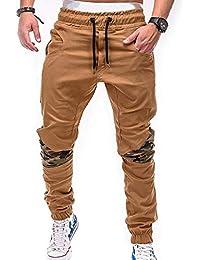 fd731d0fe45eb SOMTHRON Homme Ceinture élastique à long coton Jogging pantalons de  survêtement Plus la taille Mode Sport