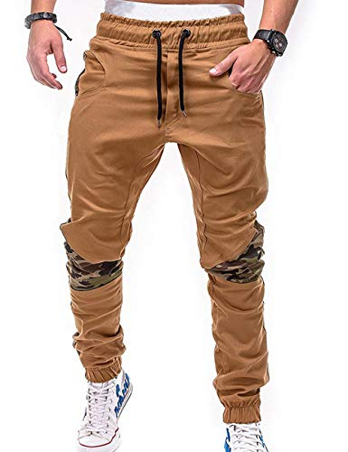 SOMTHRON Men s Elastic Waist Belt Long Cotton Jogging Sweat Pants Plus Size  Fashion Sports Cargo Pants 0928ab8b8342