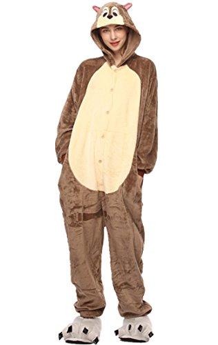URVIP Neu Unisex Festliche Anzug Flanell Pyjamas Trickfilm Jumpsuit Tier Cartoon Fasching Halloween Kostüm Sleepsuit Party Cosplay Pyjama Schlafanzug Backenhörnchen Large