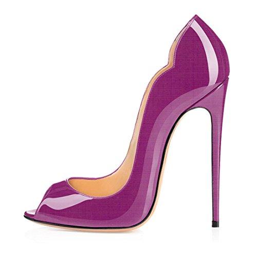 Soireelady Damen Hoher Absatz Pumps,Peep Toe High Heels,Hochzeit Brautschuhe Violett 44