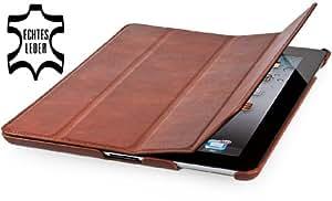 StilGut Couverture Case Tasche aus feinstem Leder für Apple iPad (3. und 4. Generation) unterstützt Smart-Cover Funktion, Cognac