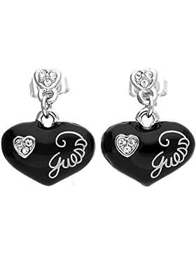 Guess Damen Ohrringe Ohrhänger Metall Schwarz/Silber UBE81142