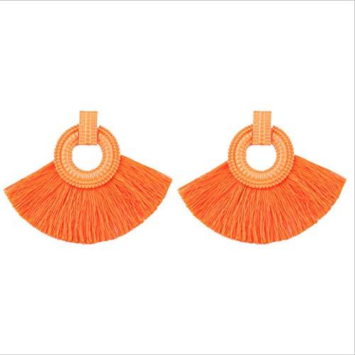 (Tassel Ohrringe Damen Ethnischen Stil, Stoff Material Handgefertigte Fächerförmige Ohrringe Sechs Tag Damen Geschenk Bevorzugt Designer-Auswahl Tragen)