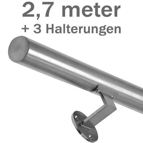 Acero inoxidable-pasamanos - 'cepillado' - 270 cm + 3 soportes