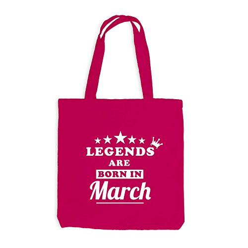 Jutebeutel - Legends are born in March - Birthday Gift Pink