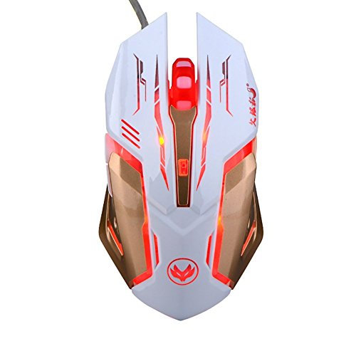 Zenoplige Gaming Maus, LESHP Ergonomische USB Wired Gaming Maus Mäuse mit 2500DPI Einstellbare High Precision 6 Button LED Optisch für Laptop PC Computer Gamer?Weiß