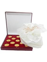 ARRAS DE LA VIDA en color dorado con Estuche y limosnera de satén en blanco roto, incluido, para todas las Bodas y Enlaces.