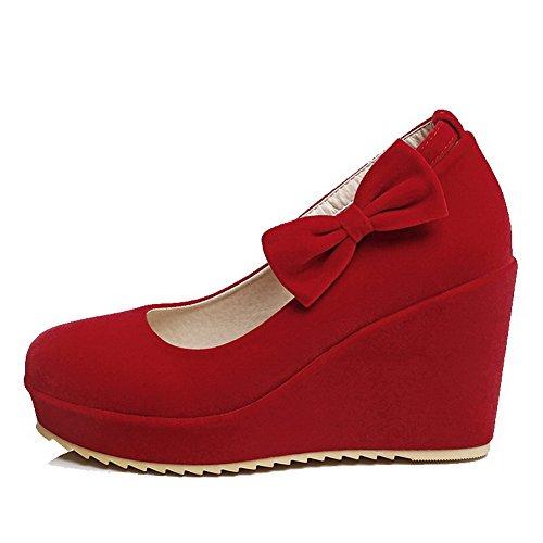 AllhqFashion Femme à Talon Haut Dépolissement Couleur Unie Velcro Rond Chaussures Légeres Rouge