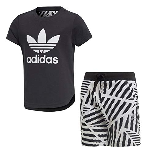 adidas Kinder Graphic Shorts Und T-Shirt Set, Black/White, 122 - Graphic T-shirt Short