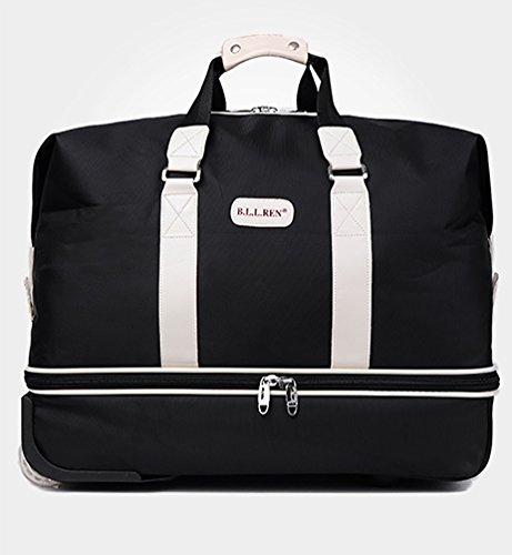 CHENGYANG Reisetasche Outdoor Sporttasche Trolley Tasche für Handgepäck Leichte Reisekoffer Reisetrolley Groß Fassungsmögen Travel Duffles Blau 60cm Schwarz