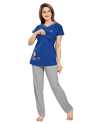 AV2 Women Cotton Solid Feeding/Nursing/Maternity Top & Pyjama Set