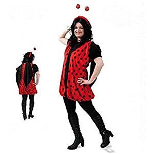 Marienkäfer Kleid 1 tlg. Plüsch Damen Fasching Kostüm mit Flügeln Gr. (Flügel Erwachsene Marienkäfer)