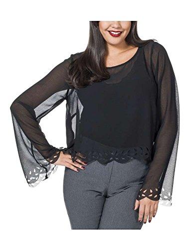 Sheego - Chemisier - Tunique - Opaque - Femme Noir - Noir