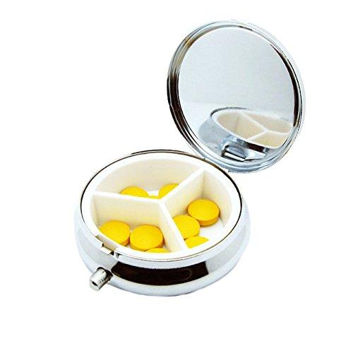 SADA72 2 Stück Metall Pillendosen tragbar Medizin Organizer Schmuck Aufbewahrungsbox Halter mit 3 Fächern für Reisen Outdoor -