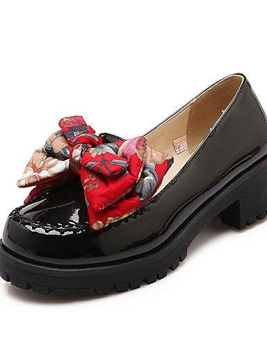 WSS 2016 Chaussures Femme-Habillé / Décontracté-Noir / Vert / Rouge / Beige-Gros Talon-Talons-Chaussures à Talons-Similicuir black-us8 / eu39 / uk6 / cn39
