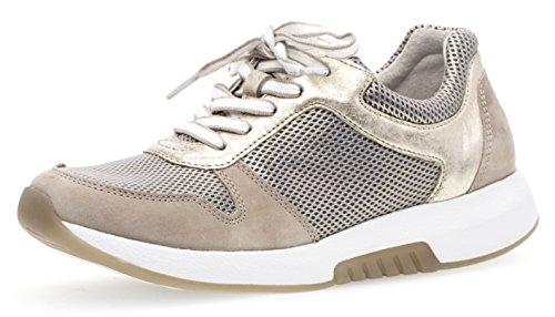 Gabor Damenschuhe 86.946.63 Damen Schnürhalbschuhe, Sneaker, Sommerschuhe, Optifit- Wechselfußbett Beige (Puder/Leinen), UK 6