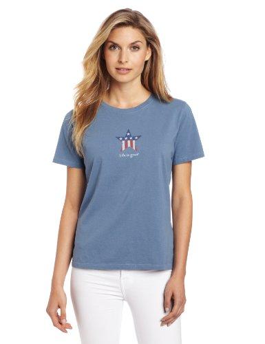 Life is Good Damen-Patriotische Star Crusher Tee XXL shadow (Damen-t-shirts Patriotische)
