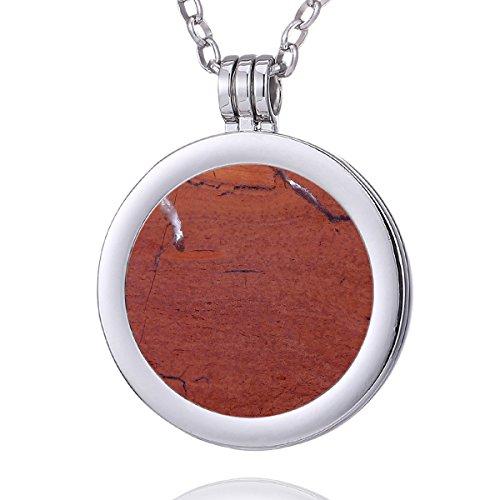 Morella Collana donna 70 cm acciaio inossidabile con Coins Moneta amuleto ciondolo chakra rotondo 33 mm gemma pietra preziosa in Iaspide rossa Coin sacchetto di velluto