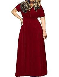 Longra Plus Size Abbigliamento Da Donna Abito Manica Corta Tinta Unita  Abito Da Sera Profondo V 61a0d887277