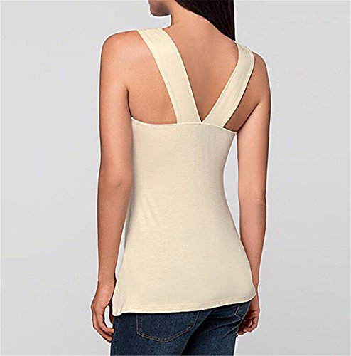 QIYUN.Z Dentelle De Coton Sans Manches Top Blouse Mode T-Shirt Epissure Laciness Femmes Nouvelles Abricot
