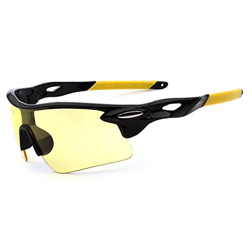 Männer Frauen Sonnenbrille Retro Spiegel Vintage Style Shades Sport Radsportbrille Brille Bright Black Frame Night Vision (Yellow Foot Sets)