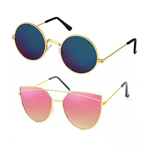 Elligator-Unisex-2-Sunglasses-Combo3-Blue-Pink