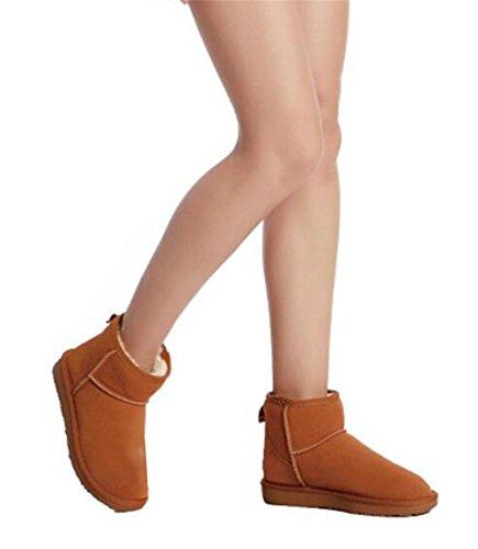 Wealsex Bottes Fourrées Doublée Chaleureux Botte De Neige Basse Classic Mode Uni Couleur Pur Plate Chaussure De Coton Chaussures d'hiver Grande Taille 39 40 Femme Marron