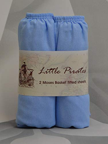 2 x Baby Pram/Crib/ Moses Basket Jersey Fitted Sheet 100% Cotton Blue 30x75cm