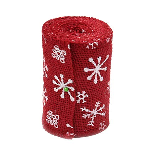 Bobopai Christmas DIY Jewelry Accessories Crafts Burlap Roll Christmas Pattern Decoration for Party Gift Decoration Trim and Embellishments Ribbons Size 10CM*3M (red) (Red) (Viertel Tot Drei)