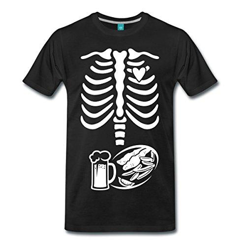 Schwangerschaft Skelett Papa Männer Premium T-Shirt von Spreadshirt®, L, (Halloween Papa Kostüme)