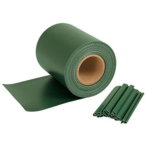 Bande brise-vue pour panneaux grillagés doubles 450 g/m², protection vent avec protection UV, avec clips de fixation 35 m x 19 cm vert