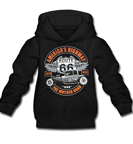 'Hot Rod-Felpa con cappuccio originale USA motivo American Highway Route 66The Mother Road Fun Consiglio Moto Biker nero L