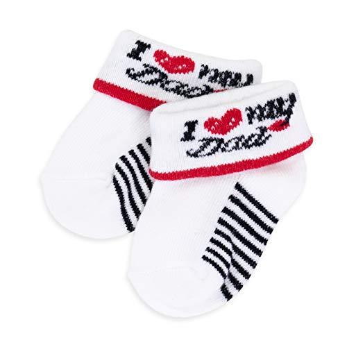 Soft Touch Baby Socken Unisex Jungen Mädchen | Größe: 0-6 Monate (62/68) | Baby Strümpfe für Neugeborene & Kleinkinder | Motiv: weiß schwarz I Love Dad