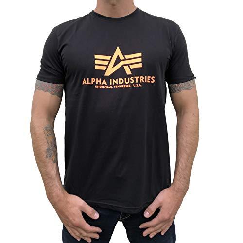 Alpha Industries T-Shirt Basic schwarz weiß blau braun grün Olive Burgundy gelb (XXL, Black/Neon Orange) -