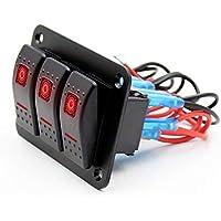 Jiayuane Panel de interruptores Interruptor de automóvil Universal 3 Gang 12V / 24V ...