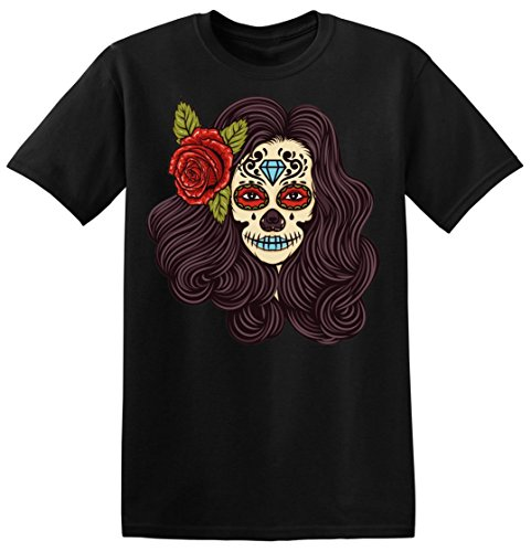 Finest Prints Creepy Girl with Flower in Her Hair Men's T-Shirt Large (Lips Halloween-make-up Black)