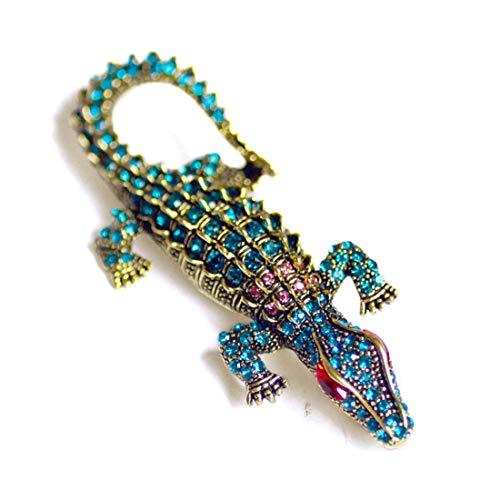 LGJJJ Krokodil Brosche Chic Glamour Unisex Kristall Brosche Formale Bunte Brosche Pin Schöne Schal Clip Corsage