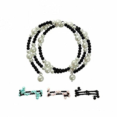 Glasperlenarmband - 3 rangs-bicolore WT / BK - Blanc / Noir