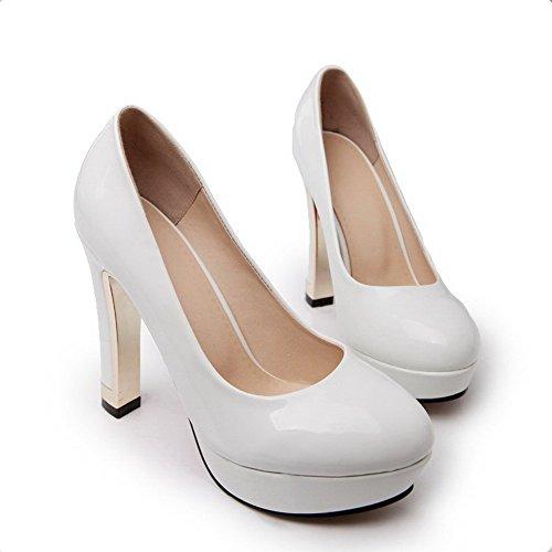 AllhqFashion Femme à Talon Haut Verni Couleur Unie Tire Rond Chaussures Légeres Blanc