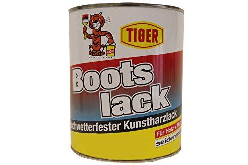 2x1 Kilogramm Tiger Bootslack Hochwetterfester Kunstharzlack Holz/Metall lösemittelhaltig seidenmatt 2 Kilogramm Farbwahl, Farbe:Weiß