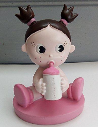 Süßes baby junge oder mädchen figur cake topper/geschenk für Babyparty/Taufe - baby in windel mit flaschen - Rosa