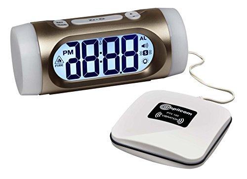 amplicomms TCL350, Wecker mit großem Display und automatischer Zeiteinstellung, lautem Alarm und superhellem Lichtsignal inklusiv Vibrations-Kissen weiß/gold