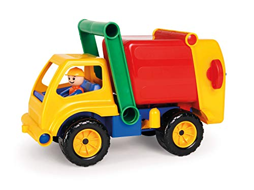 Lena 04356 - Aktive Müllwagen LKW, ca. 30 cm, mit vollbeweglicher Lena Spielfigur, Müllabfuhr Spielfahrzeug für Kinder ab 2 Jahre, robustes Müllauto mit verriegelbarem Müllbehälter und Mülltonne - Müllabfuhr