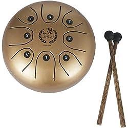 Healifty Acero Tongue Drum Tank Drum 8 Nota Instrumento de percusión con Musical Mallet para meditación personal Yoga Zen Music Therapy Camping (Golden)