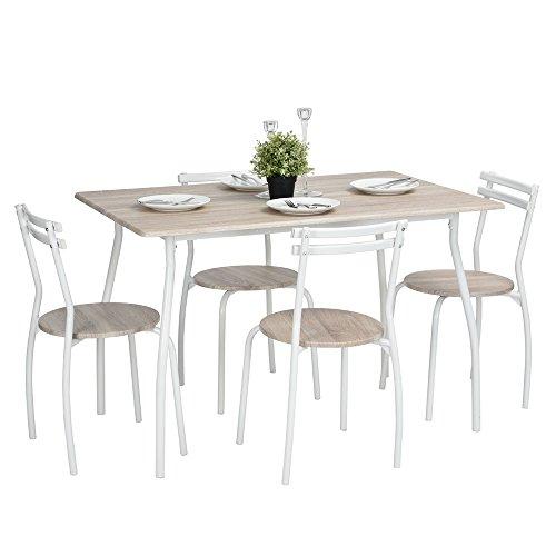 Newsbenessere.com 41jplnO6eYL Innovareds dining Table Chair set cucina da pranzo set di 1pezzi Set tavolo e 4sedie in legno di faggio