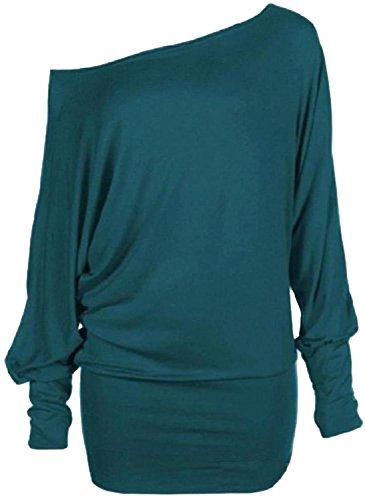 Chocolate Pickle ® nouvelles dames plus la taille de lépaule ample chauve-souris à manches longues en reste robe top Teal
